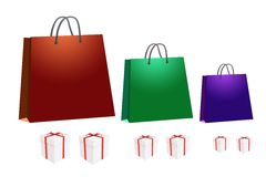 Shopping bag and gift box Stock Photos