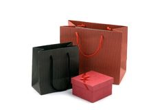 Shopping bag and gift box Royalty Free Stock Image