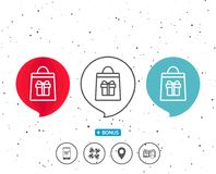 Shopping bag with Gift box line icon. Stock Photography