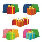 Shopping Bag with Gift box stock illustration