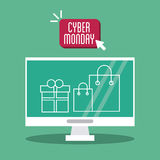 Shopping bag gift computer and cyber monday design Stock Photo