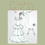 Shopping bag, gift  with the image of fashionable things. Shopping bag, gift bag with the image of fashionable things. Fashion set of bride.  Illustration in Stock Photography
