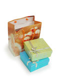 Shopping bag and giftboxes iso Stock Images