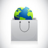 Shopping bag and globe inside. illustration design Stock Photos