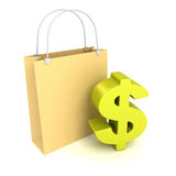 Shopping bag with green dollarcurrency symbol Royalty Free Stock Image