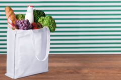 Shopping Bag. Bag Groceries Environment reusable Textile Fruit Royalty Free Stock Image