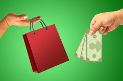 Shopping bag in hand Royalty Free Stock Photo