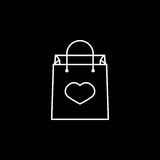 Shopping bag with heart icon. Shopping bag with heart line icon, mother`s day, holiday vector graphics, a linear pattern on a black background, eps 10 Stock Photo