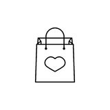 Shopping bag with heart icon. Shopping bag with heart line icon, mother`s day, holiday vector graphics, a linear pattern on a white background, eps 10 Stock Illustration