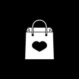 Shopping bag with heart icon. Shopping bag with heart solid icon, mother`s day, holiday vector graphics, a filled pattern on a black background, eps 10 Stock Photography