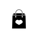 Shopping bag with heart icon. Shopping bag with heart solid icon, mother`s day, holiday vector graphics, a filled pattern on a white background, eps 10 Stock Illustration