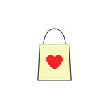 Shopping bag with heart solid icon. Valentines day, love concept, vector graphics, a colorful linear pattern on a white background, eps 10 Stock Photography