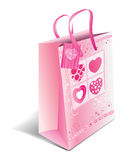 Shopping bag with hearts Royalty Free Stock Photo