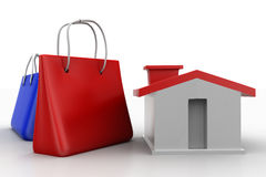 Shopping bag and house Stock Image