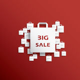 Shopping bag icon with Christmas sales Royalty Free Stock Photo