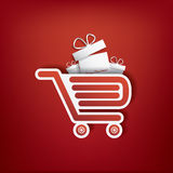 Shopping bag icon with Christmas sales. Theme for sales promotion and advertising. Eps10 vector illustration Stock Photography