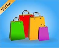 Shopping bag icon, flat design stock illustration