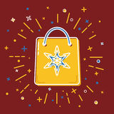 Shopping bag icon in flat style Royalty Free Stock Photos