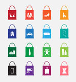 Shopping bag icon. On gray background Royalty Free Stock Images