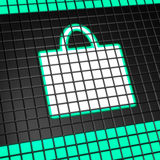 Shopping bag icon on pixel screen Stock Photography