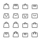 Shopping bag icon set, line version, vector eps10 Royalty Free Stock Photo