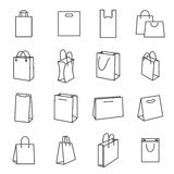 Shopping Bag Icons. Collection of Black Line Icons Isolated on White Background Stock Photos