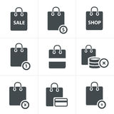 Shopping bag icons on white background. Royalty Free Stock Image