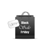 Shopping bag with label and inscription Black Friday Sale. Black paper shopping bag with inscription Black Friday Sale and 50% discount on the label, isolated on royalty free illustration