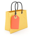 Shopping bag with label Royalty Free Stock Images