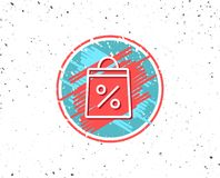 Shopping bag line icon. Supermarket buying sign. Grunge button with symbol. Shopping bag with Percentage line icon. Supermarket buying sign. Sale and Discounts Stock Image