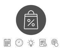Shopping bag line icon. Supermarket buying sign. Shopping bag with Percentage line icon. Supermarket buying sign. Sale and Discounts symbol. Report, Clock and Royalty Free Stock Photos