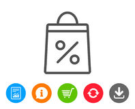 Shopping bag line icon. Supermarket buying sign. Shopping bag with Percentage line icon. Supermarket buying sign. Sale and Discounts symbol. Report, Information Stock Photo