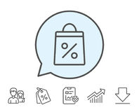 Shopping bag line icon. Supermarket buying sign. Shopping bag with Percentage line icon. Supermarket buying sign. Sale and Discounts symbol. Report, Sale Royalty Free Stock Photography