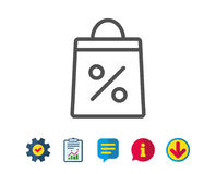 Shopping bag line icon. Supermarket buying sign. Shopping bag with Percentage line icon. Supermarket buying sign. Sale and Discounts symbol. Report, Service and Royalty Free Stock Photos