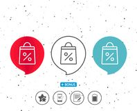 Shopping bag line icon. Supermarket buying sign. Royalty Free Stock Images