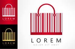 Shopping bag made from bar code logo vector. Logo design vector illustration stock illustration