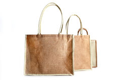 Shopping bag made out of recycled Hessian sack. еру Shopping bag made out of recycled Hessian sack Stock Photos