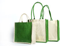 Shopping bag made out of recycled Hessian sack. The eco Shopping bag made out of recycled Hessian sack Royalty Free Stock Image
