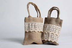 Shopping bag made out of recycled Hessian sack. Eco Shopping bag made out of recycled Hessian sack Stock Image
