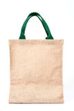 Shopping bag made out of recycled Hessian sack on white background stock photo