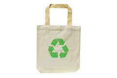 Shopping bag made out of recycled materials. Isolated on white background, Ecologically friendly, replaces plastic shopping bags Royalty Free Stock Images
