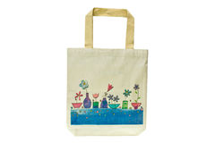 Shopping bag made out of recycled materials. Isolated on white background, Ecologically friendly, replaces plastic shopping bags Stock Photo