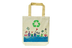 Shopping bag made out of recycled materials. Isolated on white background, Ecologically friendly, replaces plastic shopping bags Royalty Free Stock Photography