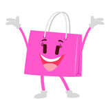 Shopping Bag Mascot both hands Up Stock Images