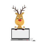 Shopping bag of Merry Christmas design. Reindeer and laptop icon. Merry Christmas season decoration figure theme. Isolated design. Vector illustration Royalty Free Stock Images