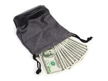 Shopping bag and money Stock Images