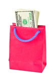 Shopping bag with money Royalty Free Stock Image