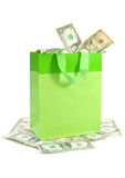 Shopping bag with money Stock Images