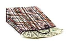 Shopping bag and money Stock Photos