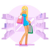 Shopping bag package girl in shop shelves goods purchase flat design character vector illustration Royalty Free Stock Photo